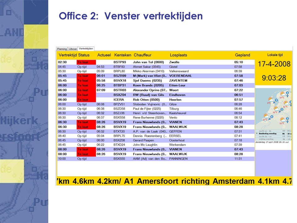 Office 2: Venster vertrektijden