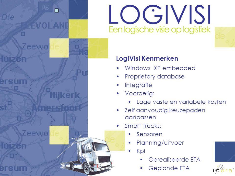 LogiVisi Kenmerken Windows XP embedded Proprietary database Integratie Voordelig: Lage vaste en variabele kosten Zelf aanvoudig keuzepaden aanpassen Smart Trucks: Sensoren Planning/uitvoer Kpi Gerealiseerde ETA Geplande ETA
