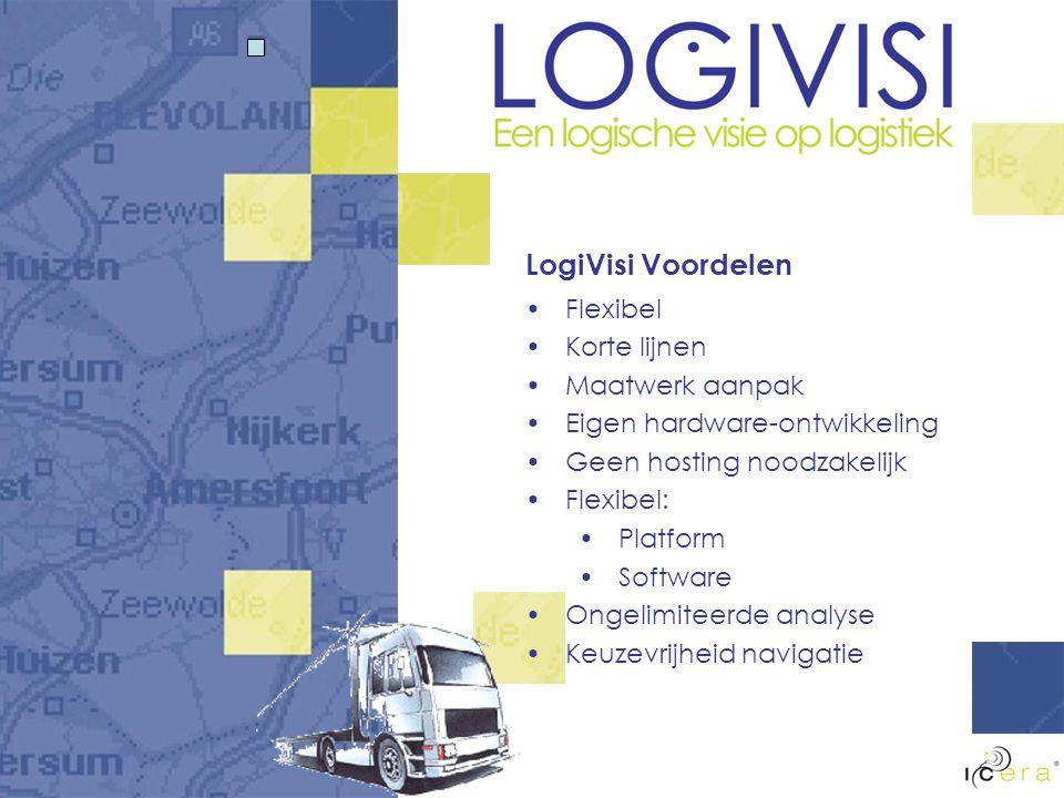 Structuur LogiVisi LogiVisi server Import- & export TMS LogiVisi backoffice Mobiele communicatie Vrachtwagen Internet