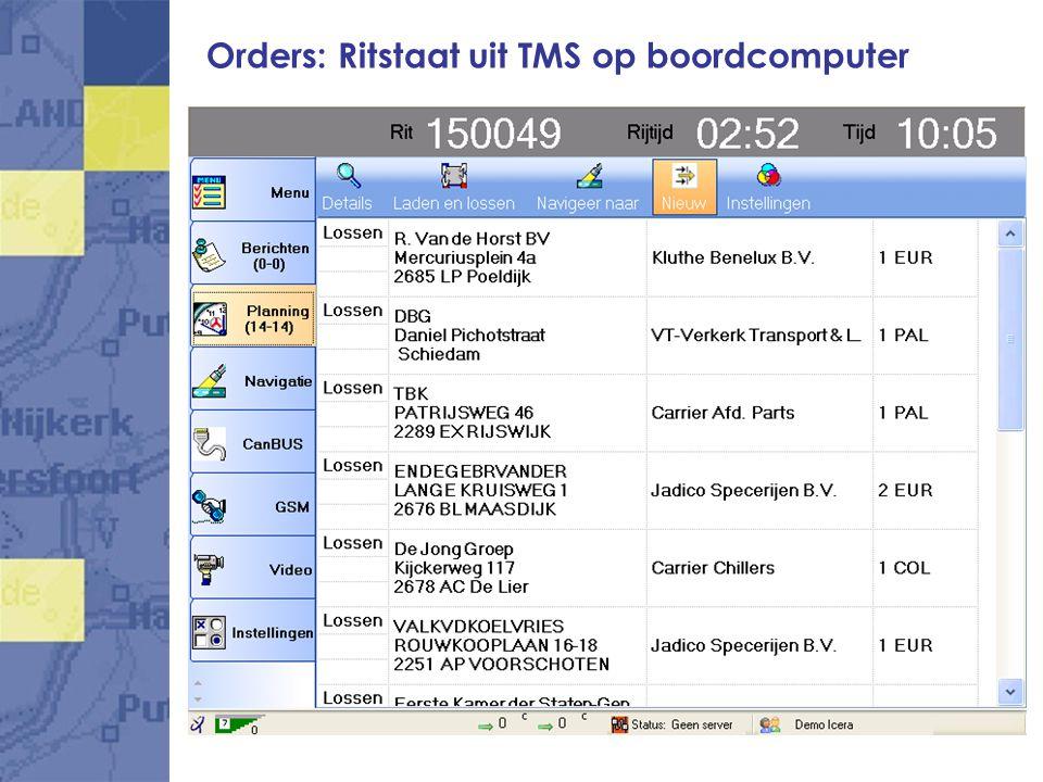 Orders: Ritstaat uit TMS op boordcomputer