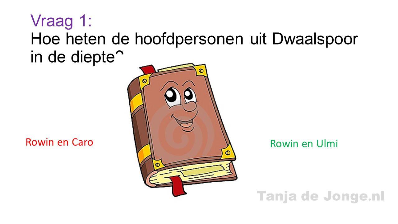 Tanja de Jonge. nl Vraag 1: Hoe heten de hoofdpersonen uit Dwaalspoor in de diepte? Rowin en Caro Rowin en Ulmi