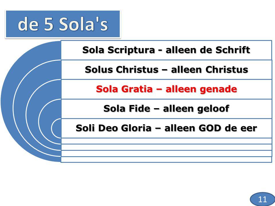 Sola Scriptura - alleen de Schrift Solus Christus – alleen Christus Sola Gratia – alleen genade Sola Fide – alleen geloof Soli Deo Gloria – alleen GOD de eer 11