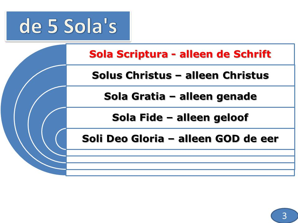 Sola Scriptura - alleen de Schrift Solus Christus – alleen Christus Sola Gratia – alleen genade Sola Fide – alleen geloof Soli Deo Gloria – alleen GOD de eer 14