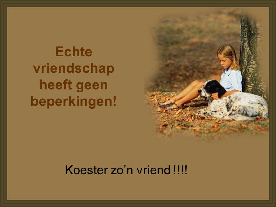 Echte vriendschap heeft geen beperkingen! Koester zo'n vriend !!!!