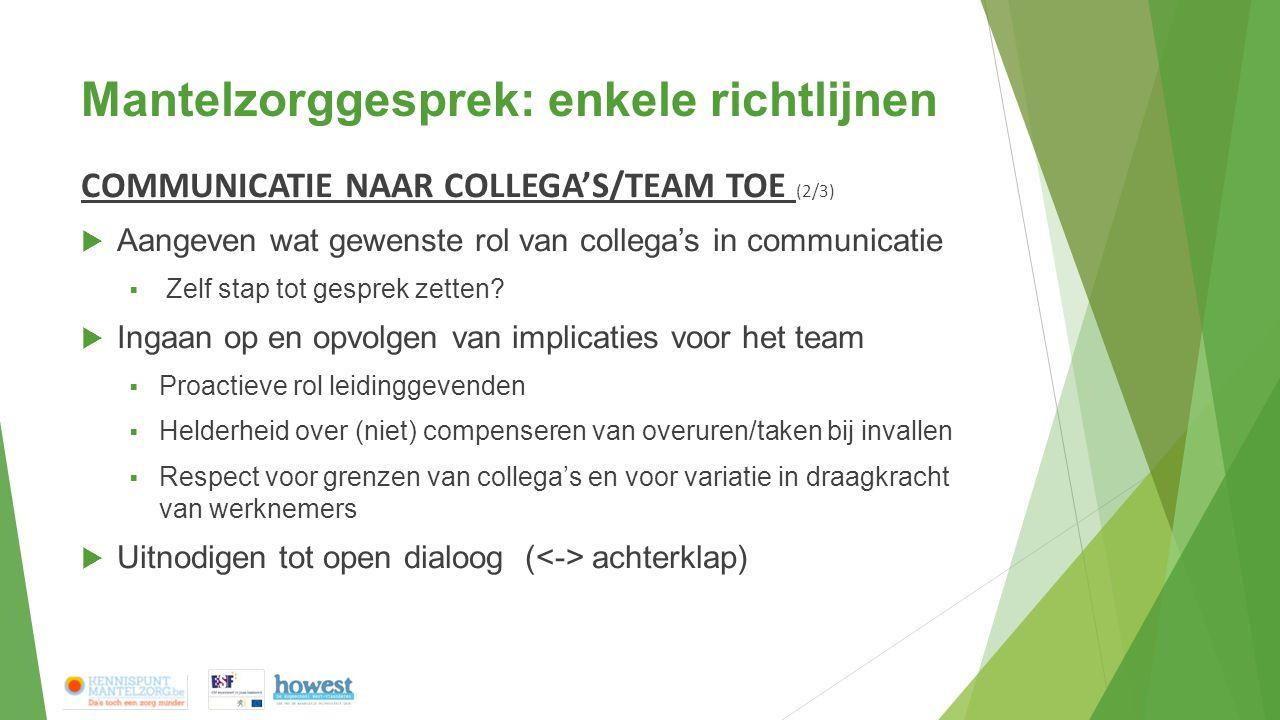 Mantelzorggesprek: enkele richtlijnen COMMUNICATIE NAAR COLLEGA'S/TEAM TOE (2/3)  Aangeven wat gewenste rol van collega's in communicatie  Zelf stap tot gesprek zetten.