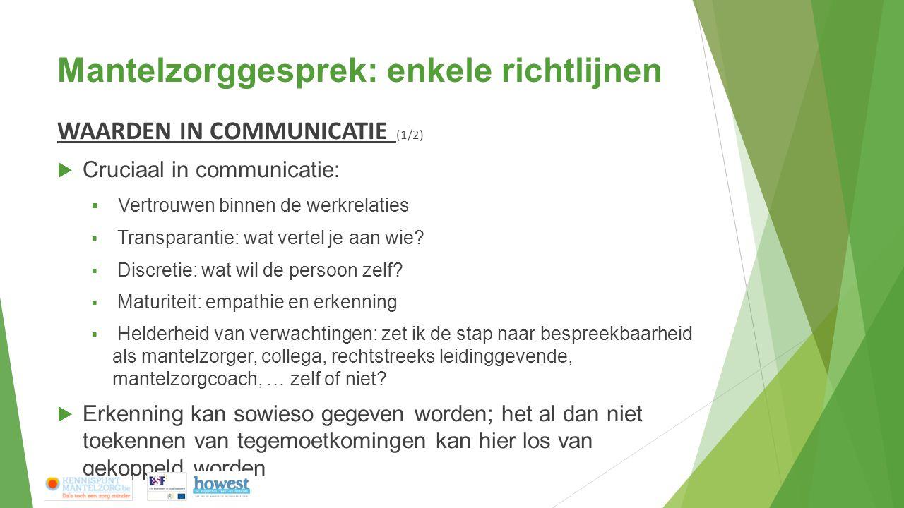 Mantelzorggesprek: enkele richtlijnen WAARDEN IN COMMUNICATIE (1/2)  Cruciaal in communicatie:  Vertrouwen binnen de werkrelaties  Transparantie: wat vertel je aan wie.