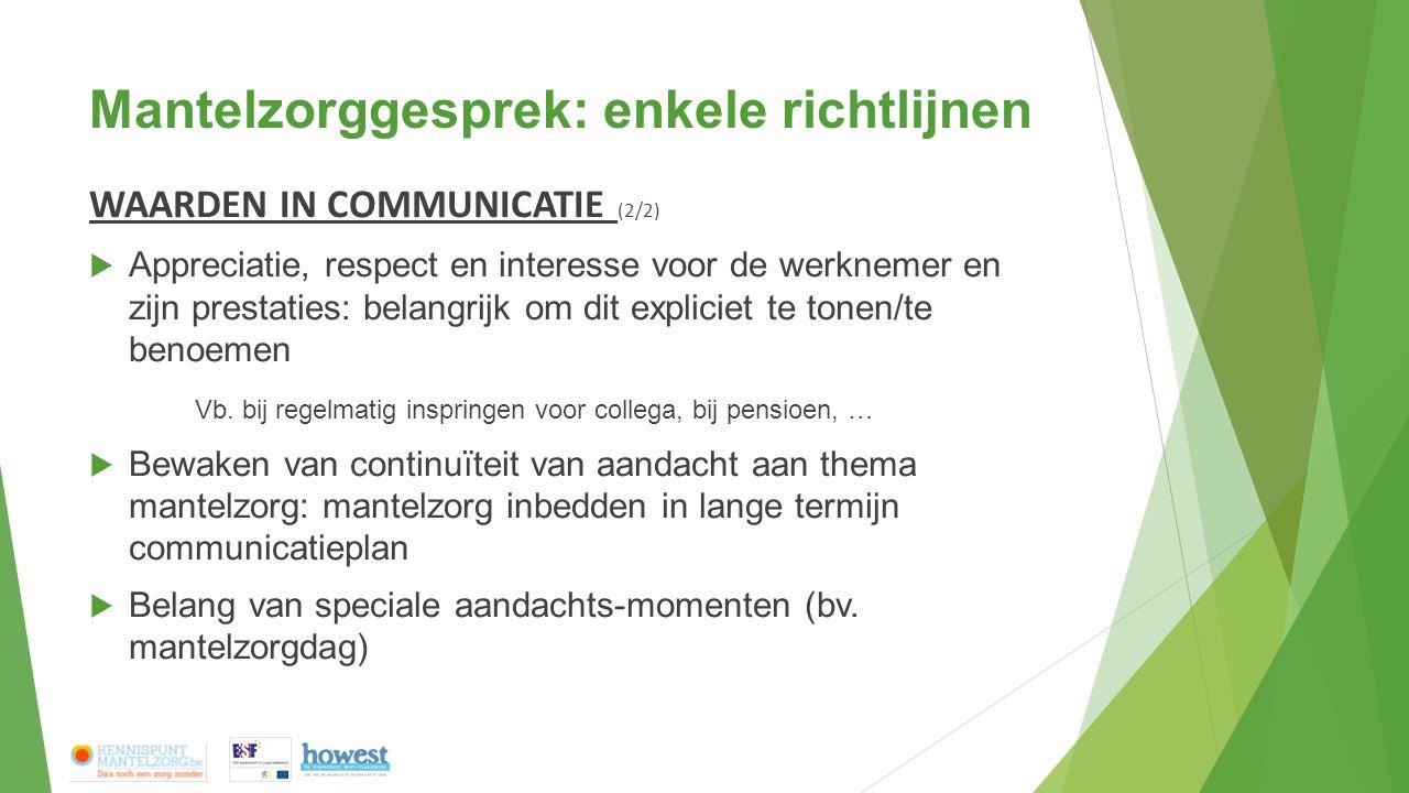 Mantelzorggesprek: enkele richtlijnen WAARDEN IN COMMUNICATIE (2/2)  Appreciatie, respect en interesse voor de werknemer en zijn prestaties: belangrijk om dit expliciet te tonen/te benoemen Vb.