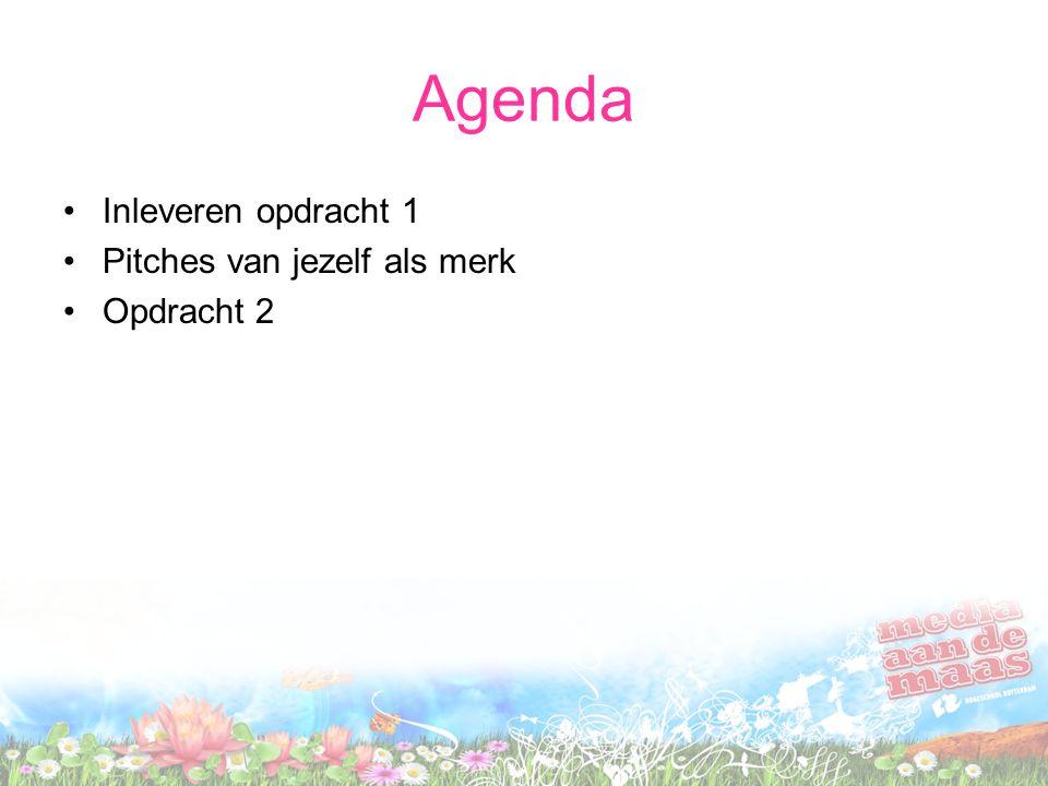 Agenda Inleveren opdracht 1 Pitches van jezelf als merk Opdracht 2