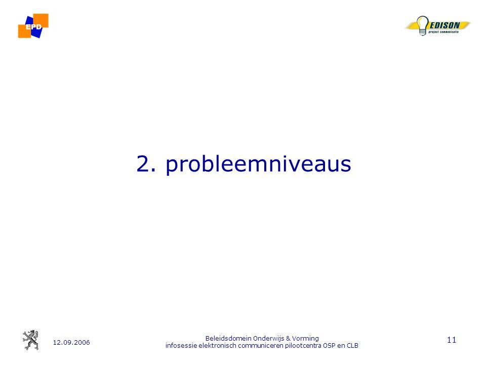 12.09.2006 Beleidsdomein Onderwijs & Vorming infosessie elektronisch communiceren pilootcentra OSP en CLB 11 2.
