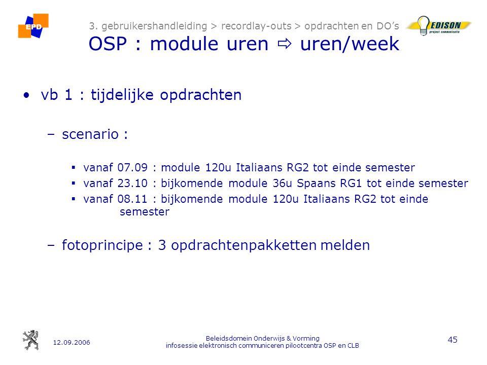 12.09.2006 Beleidsdomein Onderwijs & Vorming infosessie elektronisch communiceren pilootcentra OSP en CLB 45 3.