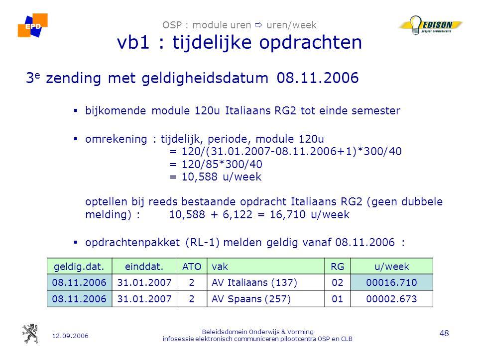 12.09.2006 Beleidsdomein Onderwijs & Vorming infosessie elektronisch communiceren pilootcentra OSP en CLB 48 OSP : module uren  uren/week vb1 : tijdelijke opdrachten 3 e zending met geldigheidsdatum 08.11.2006  bijkomende module 120u Italiaans RG2 tot einde semester  omrekening : tijdelijk, periode, module 120u = 120/(31.01.2007-08.11.2006+1)*300/40 = 120/85*300/40 = 10,588 u/week optellen bij reeds bestaande opdracht Italiaans RG2 (geen dubbele melding) :10,588 + 6,122 = 16,710 u/week  opdrachtenpakket (RL-1) melden geldig vanaf 08.11.2006 : geldig.dat.einddat.ATOvakRGu/week 08.11.200631.01.20072AV Italiaans (137)0200016.710 08.11.200631.01.20072AV Spaans (257)0100002.673