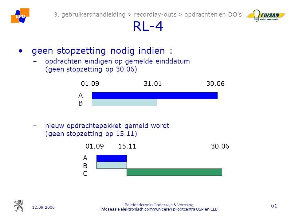 12.09.2006 Beleidsdomein Onderwijs & Vorming infosessie elektronisch communiceren pilootcentra OSP en CLB 61 3.