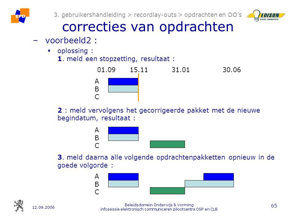 12.09.2006 Beleidsdomein Onderwijs & Vorming infosessie elektronisch communiceren pilootcentra OSP en CLB 65 3.