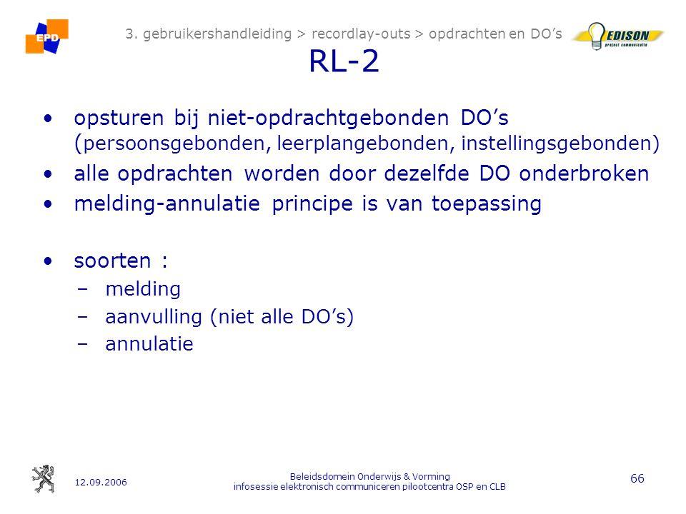 12.09.2006 Beleidsdomein Onderwijs & Vorming infosessie elektronisch communiceren pilootcentra OSP en CLB 66 3.
