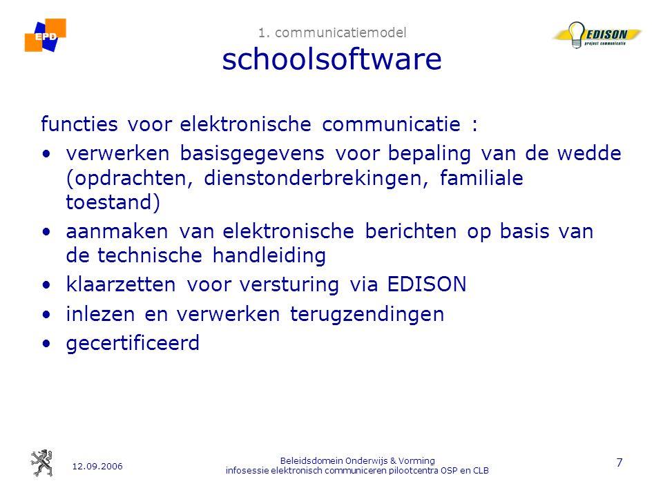 12.09.2006 Beleidsdomein Onderwijs & Vorming infosessie elektronisch communiceren pilootcentra OSP en CLB 18