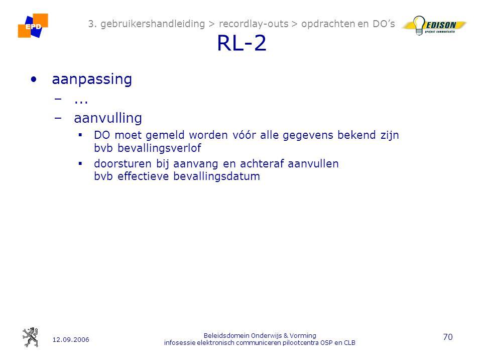 12.09.2006 Beleidsdomein Onderwijs & Vorming infosessie elektronisch communiceren pilootcentra OSP en CLB 70 3.