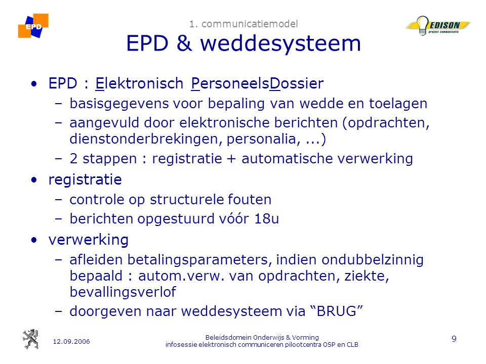 12.09.2006 Beleidsdomein Onderwijs & Vorming infosessie elektronisch communiceren pilootcentra OSP en CLB 10 1.
