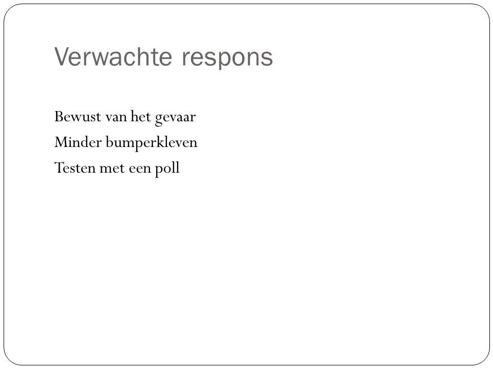 Verwachte respons Bewust van het gevaar Minder bumperkleven Testen met een poll