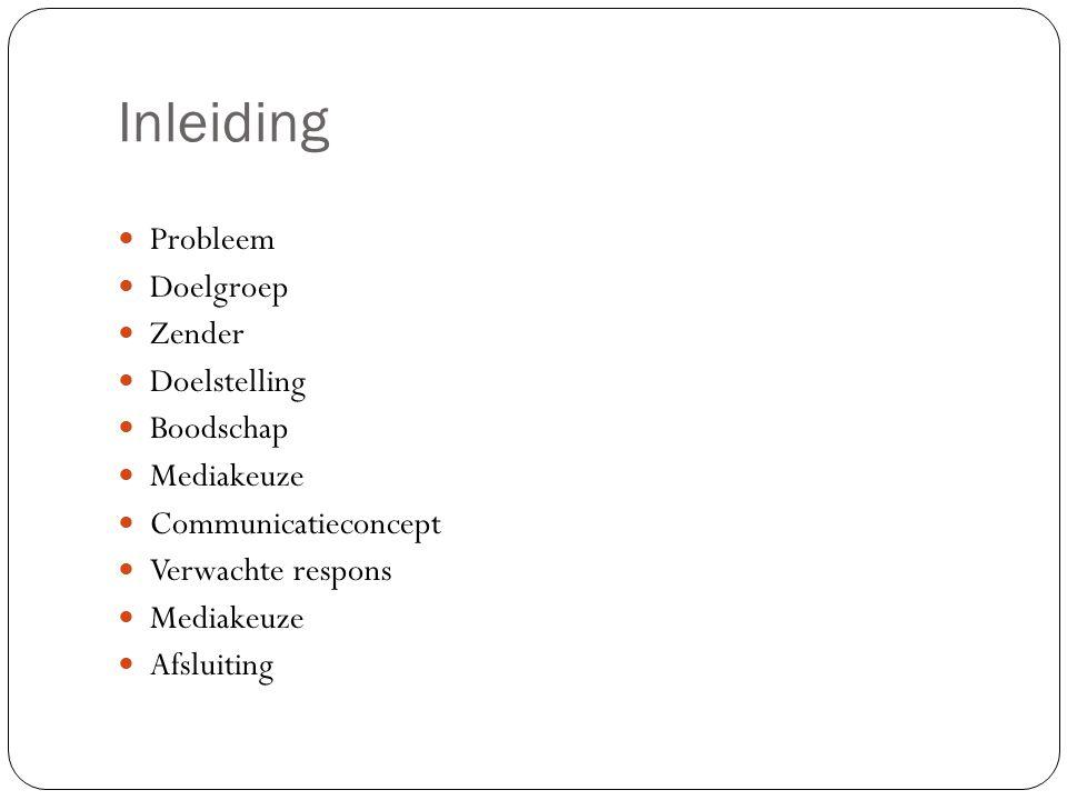 Inleiding Probleem Doelgroep Zender Doelstelling Boodschap Mediakeuze Communicatieconcept Verwachte respons Mediakeuze Afsluiting