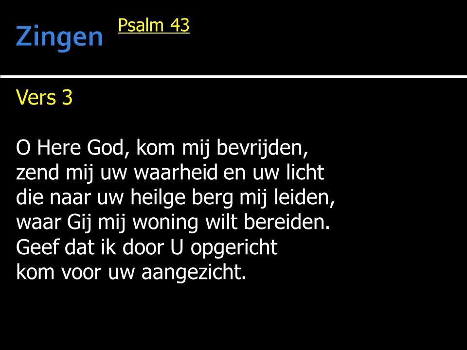 Vers 3 O Here God, kom mij bevrijden, zend mij uw waarheid en uw licht die naar uw heilge berg mij leiden, waar Gij mij woning wilt bereiden.