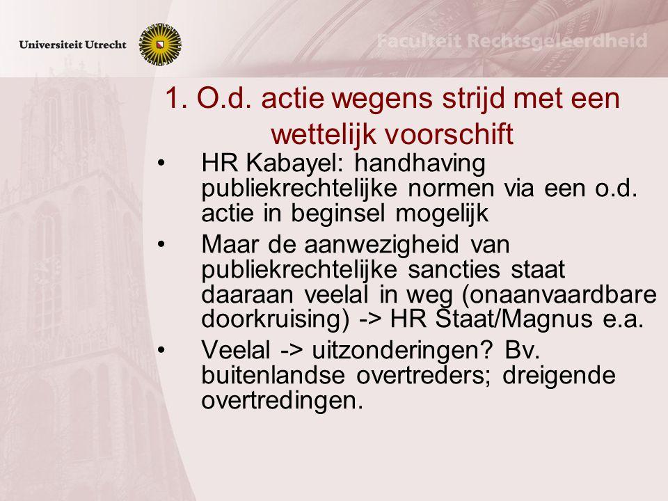 Privaatrechtelijke handhavingsinstrumenten 1. O.d.actie wegens strijd met een wettelijk voorschrift 2. Eigendom 3. Overeenkomst