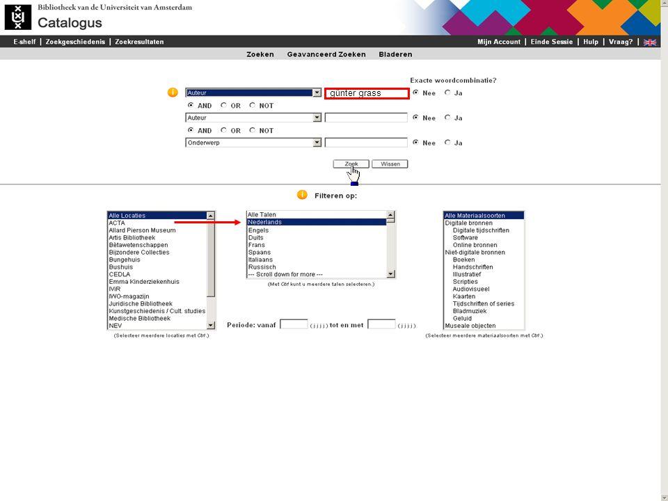 U kunt zoekresultaten ook beperken tot één of meer locaties