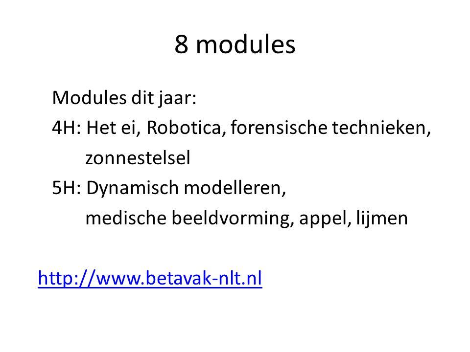 8 modules Modules dit jaar: 4H: Het ei, Robotica, forensische technieken, zonnestelsel 5H: Dynamisch modelleren, medische beeldvorming, appel, lijmen