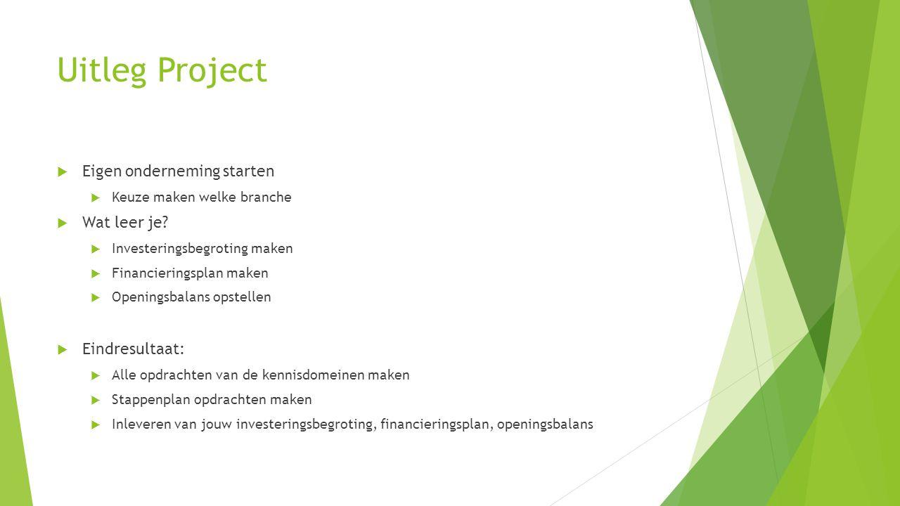 Uitleg Project  Eigen onderneming starten  Keuze maken welke branche  Wat leer je.
