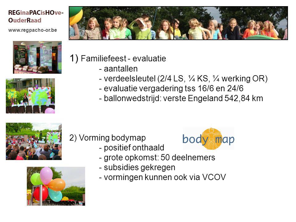 www.regpacho-or.be 1) Familiefeest - evaluatie - aantallen - verdeelsleutel (2/4 LS, ¼ KS, ¼ werking OR) - evaluatie vergadering tss 16/6 en 24/6 - ballonwedstrijd: verste Engeland 542,84 km 2) Vorming bodymap - positief onthaald - grote opkomst: 50 deelnemers - subsidies gekregen - vormingen kunnen ook via VCOV