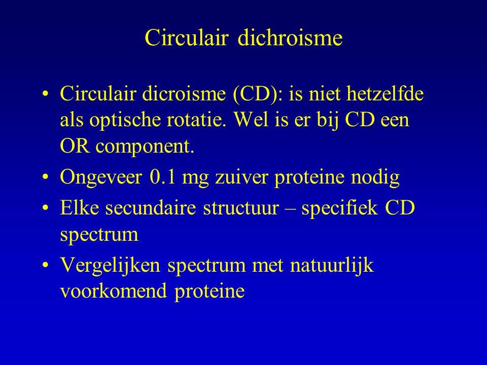 Circulair dichroisme Circulair dicroisme (CD): is niet hetzelfde als optische rotatie.