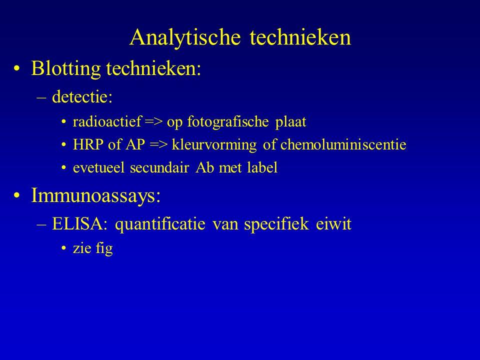 Analytische technieken Blotting technieken: –detectie: radioactief => op fotografische plaat HRP of AP => kleurvorming of chemoluminiscentie evetueel secundair Ab met label Immunoassays: –ELISA: quantificatie van specifiek eiwit zie fig