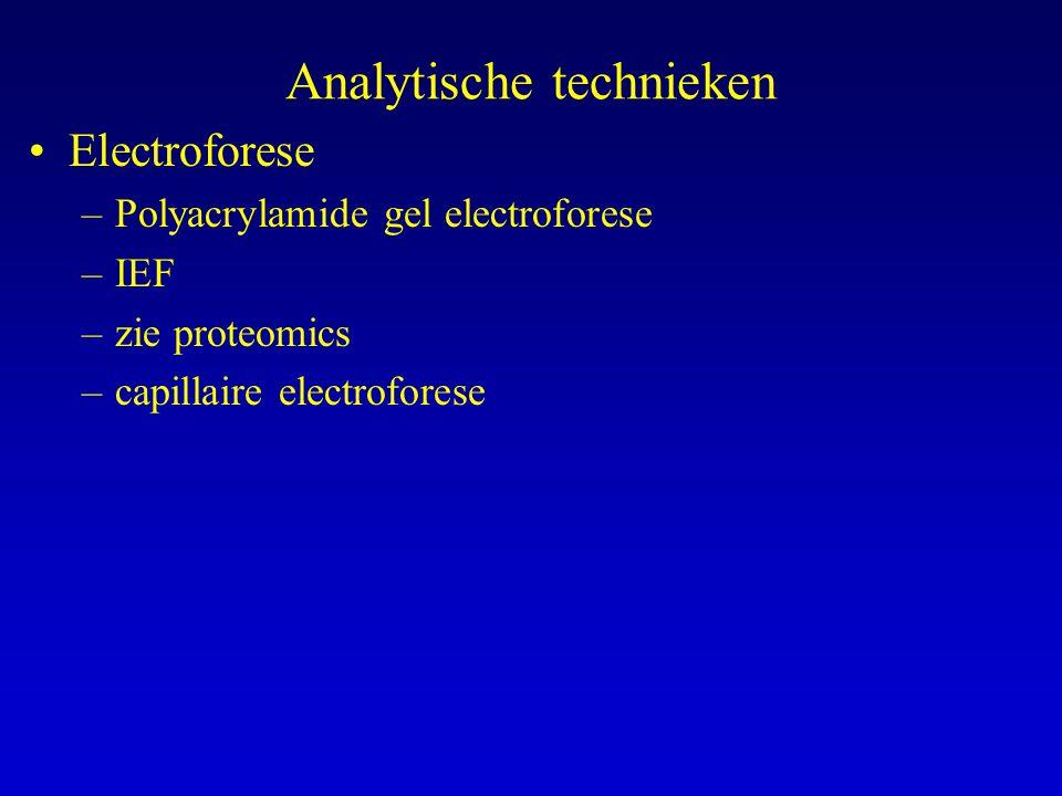 Analytische technieken Electroforese –Polyacrylamide gel electroforese –IEF –zie proteomics –capillaire electroforese