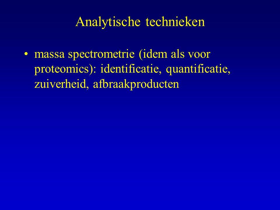 Analytische technieken massa spectrometrie (idem als voor proteomics): identificatie, quantificatie, zuiverheid, afbraakproducten