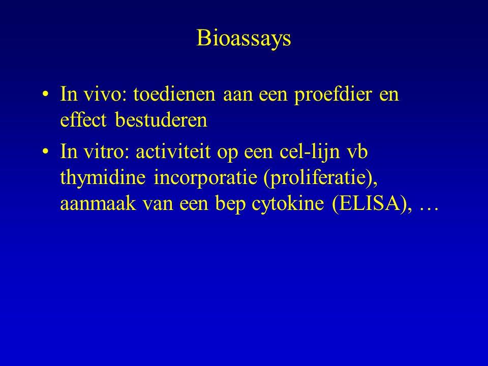 Bioassays In vivo: toedienen aan een proefdier en effect bestuderen In vitro: activiteit op een cel-lijn vb thymidine incorporatie (proliferatie), aanmaak van een bep cytokine (ELISA), …