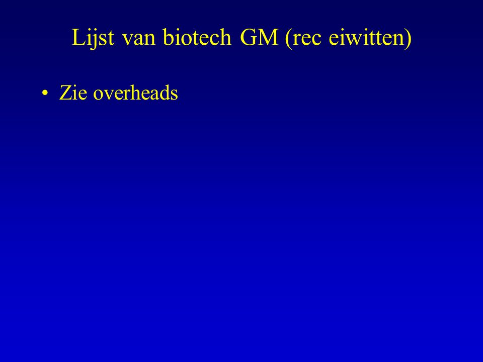Lijst van biotech GM (rec eiwitten) Zie overheads