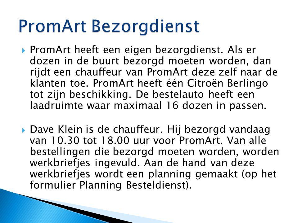  PromArt heeft een eigen bezorgdienst. Als er dozen in de buurt bezorgd moeten worden, dan rijdt een chauffeur van PromArt deze zelf naar de klanten