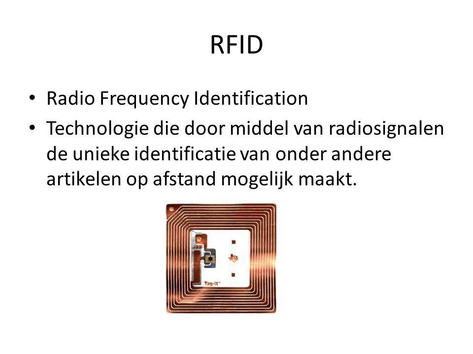 RFID Radio Frequency Identification Technologie die door middel van radiosignalen de unieke identificatie van onder andere artikelen op afstand mogeli