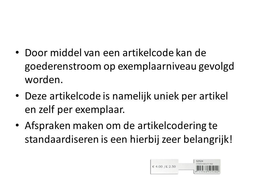 Door middel van een artikelcode kan de goederenstroom op exemplaarniveau gevolgd worden. Deze artikelcode is namelijk uniek per artikel en zelf per ex