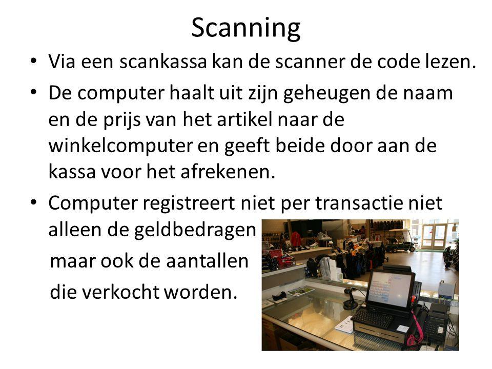 Scanning Via een scankassa kan de scanner de code lezen. De computer haalt uit zijn geheugen de naam en de prijs van het artikel naar de winkelcompute