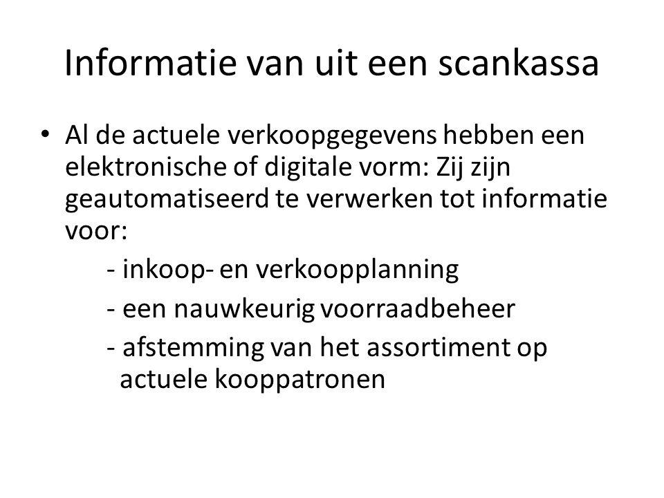 Informatie van uit een scankassa Al de actuele verkoopgegevens hebben een elektronische of digitale vorm: Zij zijn geautomatiseerd te verwerken tot in