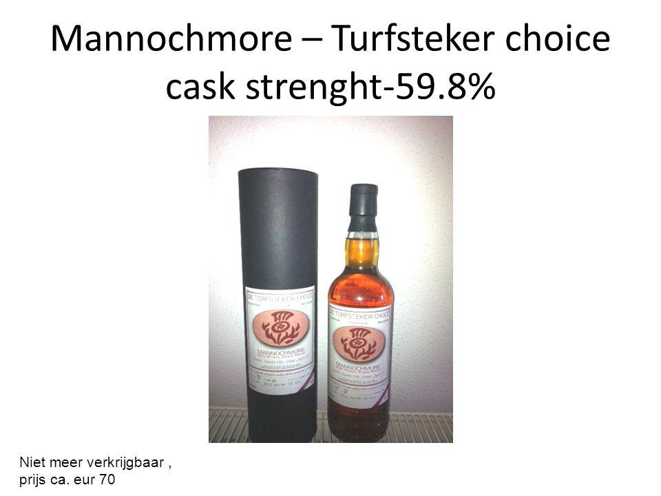 Mannochmore – Turfsteker choice cask strenght-59.8% Niet meer verkrijgbaar, prijs ca. eur 70
