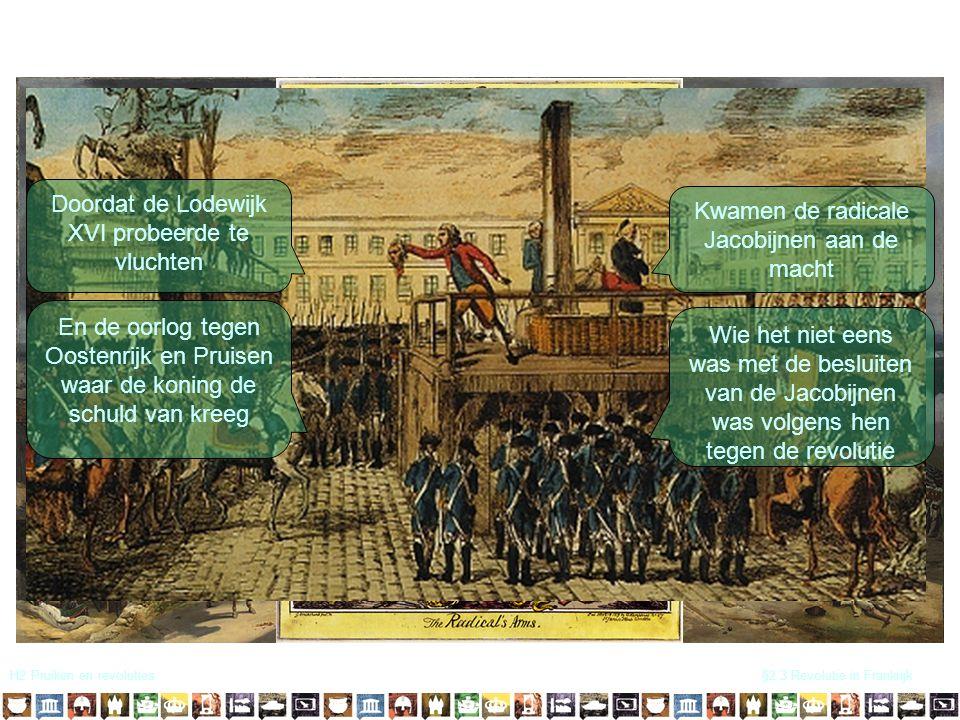 H2 Pruiken en revoluties§2.3 Revolutie in Frankrijk Democratie!! Doordat de Lodewijk XVI probeerde te vluchten En de oorlog tegen Oostenrijk en Pruise