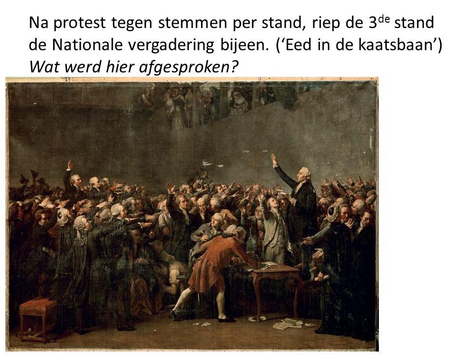Na protest tegen stemmen per stand, riep de 3 de stand de Nationale vergadering bijeen. ('Eed in de kaatsbaan') Wat werd hier afgesproken?