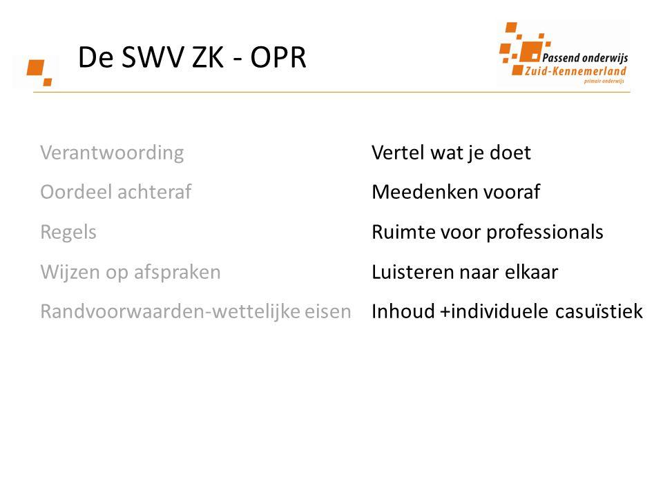 De SWV ZK - OPR Verantwoording Vertel wat je doet Oordeel achteraf Meedenken vooraf RegelsRuimte voor professionals Wijzen op afsprakenLuisteren naar elkaar Randvoorwaarden-wettelijke eisen Inhoud +individuele casuïstiek