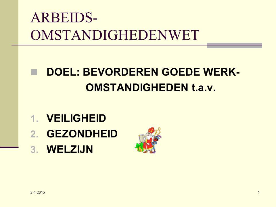 2-4-2015 niveau 2 1 ARBEIDS- OMSTANDIGHEDENWET DOEL: BEVORDEREN GOEDE WERK- OMSTANDIGHEDEN t.a.v. 1. VEILIGHEID 2. GEZONDHEID 3. WELZIJN