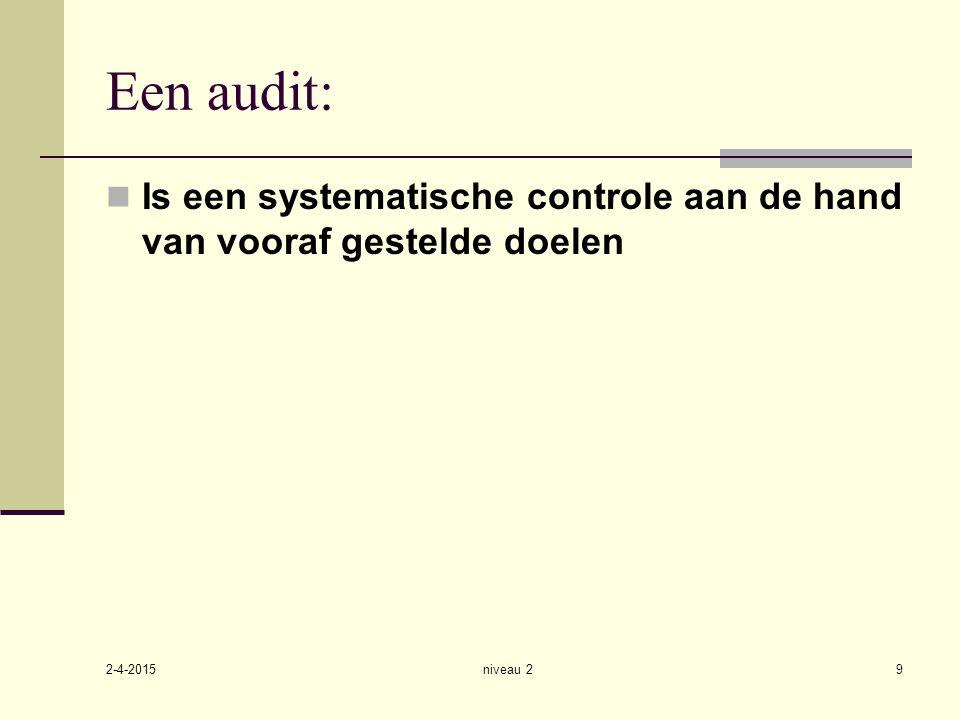 2-4-2015 niveau 29 Een audit: Is een systematische controle aan de hand van vooraf gestelde doelen