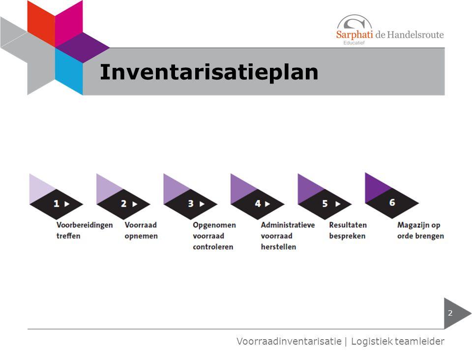 Inventarisatieplan 2 Voorraadinventarisatie   Logistiek teamleider