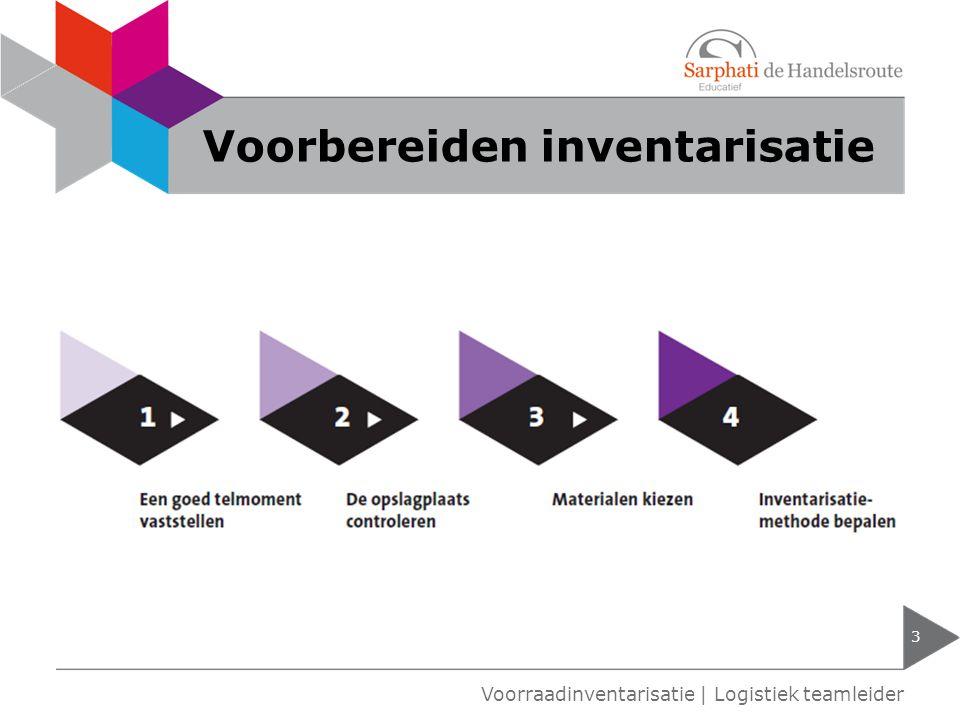 Voorbereiden inventarisatie 3 Voorraadinventarisatie   Logistiek teamleider