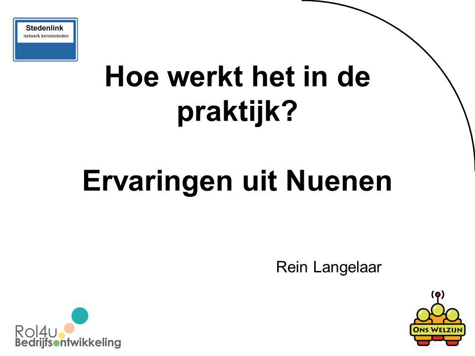 Hoe werkt het in de praktijk? Ervaringen uit Nuenen Rein Langelaar