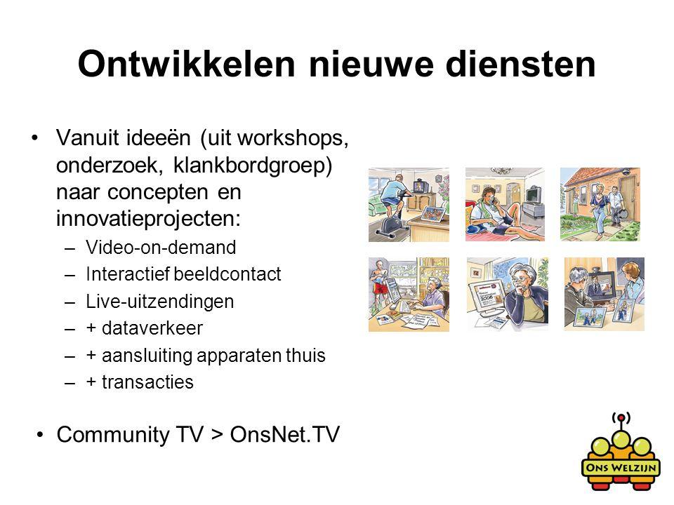 Ontwikkelen nieuwe diensten Vanuit ideeën (uit workshops, onderzoek, klankbordgroep) naar concepten en innovatieprojecten: –Video-on-demand –Interacti